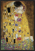 60213_FB1_- titled 'The Kiss' by artist Gustav Klimt - Wall Art Print on Textured Fine Art Canvas or Paper - Digital Giclee reproduction of art painting. Red Sky Art is India's Online Art Gallery for Home Decor - K349