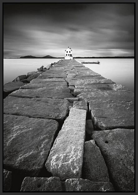 60216_FB1_- titled 'Breakwater Light' by artist Moises Levy - Wall Art Print on Textured Fine Art Canvas or Paper - Digital Giclee reproduction of art painting. Red Sky Art is India's Online Art Gallery for Home Decor - L1493