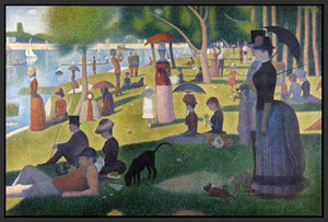60109_FB1_- titled 'Sunday Afternoon on the Island of Grande Jatte 1864' by artist Georges Seurat - Wall Art Print on Textured Fine Art Canvas or Paper - Digital Giclee reproduction of art painting. Red Sky Art is India's Online Art Gallery for Home Decor - S1615