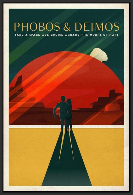 60098_FB1_- titled 'Space X Mars Tourism Poster for Phobos and Deimos' by artist Vintage Reproduction - Wall Art Print on Textured Fine Art Canvas or Paper - Digital Giclee reproduction of art painting. Red Sky Art is India's Online Art Gallery for Home Decor - V1843