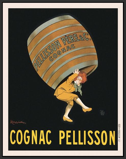 60203_FB1_- titled 'Cognac Pellisson' by artist Vintage Posters - Wall Art Print on Textured Fine Art Canvas or Paper - Digital Giclee reproduction of art painting. Red Sky Art is India's Online Art Gallery for Home Decor - V395