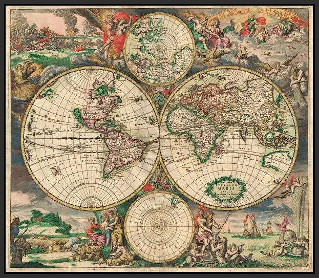 60242_FB1_- titled 'World Map 1689' by artist Vintage Reproduction - Wall Art Print on Textured Fine Art Canvas or Paper - Digital Giclee reproduction of art painting. Red Sky Art is India's Online Art Gallery for Home Decor - V413