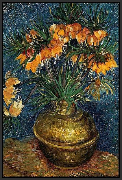 60207_FB1_- titled 'Crown Imperial Fritillaries in a Copper Vase, 1886' by artist Vincent van Gogh - Wall Art Print on Textured Fine Art Canvas or Paper - Digital Giclee reproduction of art painting. Red Sky Art is India's Online Art Gallery for Home Decor - V432