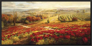 34732_FB2_- titled 'Red Poppy Panorama' by artist Roberto Lombardi - Wall Art Print on Textured Fine Art Canvas or Paper - Digital Giclee reproduction of art painting. Red Sky Art is India's Online Art Gallery for Home Decor - 761_TR3063