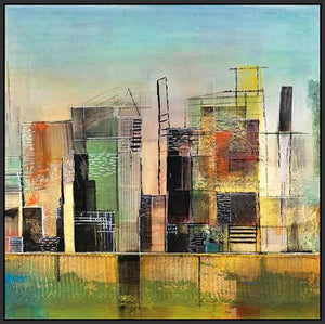 76058_FB2_- titled 'Golden City 1' by artist Asha Menghrajani - Wall Art Print on Textured Fine Art Canvas or Paper - Digital Giclee reproduction of art painting. Red Sky Art is India's Online Art Gallery for Home Decor - 761_TR33135