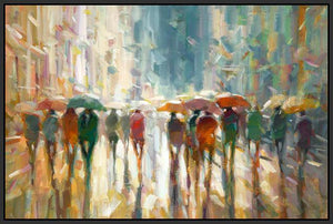 76069_FB2_- titled 'Downtown Rain' by artist Eric Jarvis - Wall Art Print on Textured Fine Art Canvas or Paper - Digital Giclee reproduction of art painting. Red Sky Art is India's Online Art Gallery for Home Decor - 761_TR42187