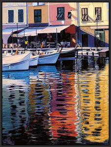 35125_FB2_- titled 'Reflections Of Portofino' by artist Tom Swimm - Wall Art Print on Textured Fine Art Canvas or Paper - Digital Giclee reproduction of art painting. Red Sky Art is India's Online Art Gallery for Home Decor - 762_TR18586