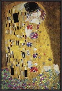 60213_FB2_- titled 'The Kiss' by artist Gustav Klimt - Wall Art Print on Textured Fine Art Canvas or Paper - Digital Giclee reproduction of art painting. Red Sky Art is India's Online Art Gallery for Home Decor - K349