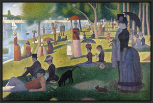 60109_FB2_- titled 'Sunday Afternoon on the Island of Grande Jatte 1864' by artist Georges Seurat - Wall Art Print on Textured Fine Art Canvas or Paper - Digital Giclee reproduction of art painting. Red Sky Art is India's Online Art Gallery for Home Decor - S1615