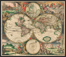 60242_FB2_- titled 'World Map 1689' by artist Vintage Reproduction - Wall Art Print on Textured Fine Art Canvas or Paper - Digital Giclee reproduction of art painting. Red Sky Art is India's Online Art Gallery for Home Decor - V413