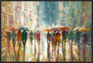 76069_FB3_- titled 'Downtown Rain' by artist Eric Jarvis - Wall Art Print on Textured Fine Art Canvas or Paper - Digital Giclee reproduction of art painting. Red Sky Art is India's Online Art Gallery for Home Decor - 761_TR42187