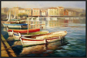 34592_FB3_- titled 'Harbor Morning II' by artist Roberto Lombardi - Wall Art Print on Textured Fine Art Canvas or Paper - Digital Giclee reproduction of art painting. Red Sky Art is India's Online Art Gallery for Home Decor - 761_TR5346