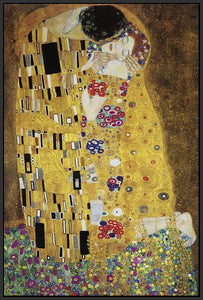 60213_FB3_- titled 'The Kiss' by artist Gustav Klimt - Wall Art Print on Textured Fine Art Canvas or Paper - Digital Giclee reproduction of art painting. Red Sky Art is India's Online Art Gallery for Home Decor - K349