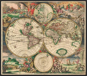 60242_FB3_- titled 'World Map 1689' by artist Vintage Reproduction - Wall Art Print on Textured Fine Art Canvas or Paper - Digital Giclee reproduction of art painting. Red Sky Art is India's Online Art Gallery for Home Decor - V413