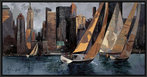 222241_FB4 'Sailboats in Manhattan I' by artist Marti Bofarull - Wall Art Print on Textured Fine Art Canvas or Paper - Digital Giclee reproduction of art painting. Red Sky Art is India's Online Art Gallery for Home Decor - 111_BMP306