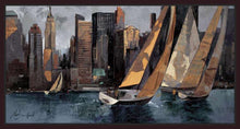 222241_FD1 'Sailboats in Manhattan I' by artist Marti Bofarull - Wall Art Print on Textured Fine Art Canvas or Paper - Digital Giclee reproduction of art painting. Red Sky Art is India's Online Art Gallery for Home Decor - 111_BMP306