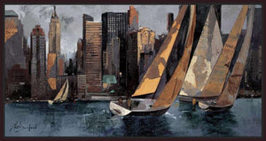 222241_FD2 'Sailboats in Manhattan I' by artist Marti Bofarull - Wall Art Print on Textured Fine Art Canvas or Paper - Digital Giclee reproduction of art painting. Red Sky Art is India's Online Art Gallery for Home Decor - 111_BMP306
