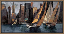 222241_FN1 'Sailboats in Manhattan I' by artist Marti Bofarull - Wall Art Print on Textured Fine Art Canvas or Paper - Digital Giclee reproduction of art painting. Red Sky Art is India's Online Art Gallery for Home Decor - 111_BMP306