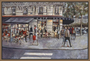 222281_FN1 'Shopping in Paris' by artist Didier Lourenco - Wall Art Print on Textured Fine Art Canvas or Paper - Digital Giclee reproduction of art painting. Red Sky Art is India's Online Art Gallery for Home Decor - 111_LDP355