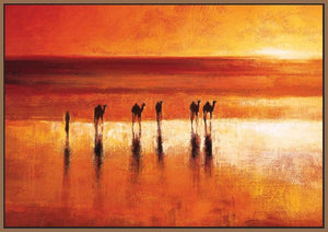 45192_FN1 - titled 'Camel Crossing' by artist Jonathan Sanders - Wall Art Print on Textured Fine Art Canvas or Paper - Digital Giclee reproduction of art painting. Red Sky Art is India's Online Art Gallery for Home Decor - 55_WDC21183