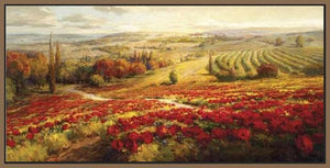 34732_FN1_- titled 'Red Poppy Panorama' by artist Roberto Lombardi - Wall Art Print on Textured Fine Art Canvas or Paper - Digital Giclee reproduction of art painting. Red Sky Art is India's Online Art Gallery for Home Decor - 761_TR3063