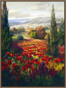 76006_FN1_- titled ' Fields of Bloom' by artist Roberto Lombardi - Wall Art Print on Textured Fine Art Canvas or Paper - Digital Giclee reproduction of art painting. Red Sky Art is India's Online Art Gallery for Home Decor - 761_TR3940