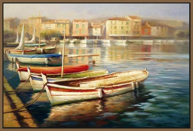 34592_FN1_- titled 'Harbor Morning II' by artist Roberto Lombardi - Wall Art Print on Textured Fine Art Canvas or Paper - Digital Giclee reproduction of art painting. Red Sky Art is India's Online Art Gallery for Home Decor - 761_TR5346