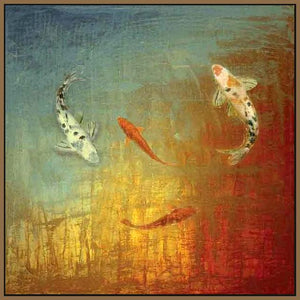 35013_FN1_- titled 'Koi Zen' by artist MJ Lew - Wall Art Print on Textured Fine Art Canvas or Paper - Digital Giclee reproduction of art painting. Red Sky Art is India's Online Art Gallery for Home Decor - 762_TR12362