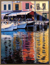 35125_FN1_- titled 'Reflections Of Portofino' by artist Tom Swimm - Wall Art Print on Textured Fine Art Canvas or Paper - Digital Giclee reproduction of art painting. Red Sky Art is India's Online Art Gallery for Home Decor - 762_TR18586