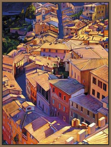 35128_FN1_- titled 'Above Siena' by artist Tom Swimm - Wall Art Print on Textured Fine Art Canvas or Paper - Digital Giclee reproduction of art painting. Red Sky Art is India's Online Art Gallery for Home Decor - 762_TR18599