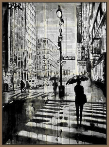 60211_FN1_- titled 'Manhattan Moment' by artist Loui Jover - Wall Art Print on Textured Fine Art Canvas or Paper - Digital Giclee reproduction of art painting. Red Sky Art is India's Online Art Gallery for Home Decor - J861
