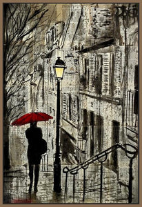 60086_FN1_- titled 'The Walk Home' by artist Loui Jover - Wall Art Print on Textured Fine Art Canvas or Paper - Digital Giclee reproduction of art painting. Red Sky Art is India's Online Art Gallery for Home Decor - J862