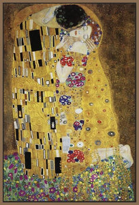 60213_FN1_- titled 'The Kiss' by artist Gustav Klimt - Wall Art Print on Textured Fine Art Canvas or Paper - Digital Giclee reproduction of art painting. Red Sky Art is India's Online Art Gallery for Home Decor - K349