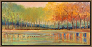 60237_FN1_- titled 'Flowing Streams Revisited' by artist Libby Smart - Wall Art Print on Textured Fine Art Canvas or Paper - Digital Giclee reproduction of art painting. Red Sky Art is India's Online Art Gallery for Home Decor - S2696