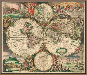 60242_FN1_- titled 'World Map 1689' by artist Vintage Reproduction - Wall Art Print on Textured Fine Art Canvas or Paper - Digital Giclee reproduction of art painting. Red Sky Art is India's Online Art Gallery for Home Decor - V413