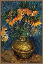 60207_FN1_- titled 'Crown Imperial Fritillaries in a Copper Vase, 1886' by artist Vincent van Gogh - Wall Art Print on Textured Fine Art Canvas or Paper - Digital Giclee reproduction of art painting. Red Sky Art is India's Online Art Gallery for Home Decor - V432