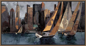 222241_FN2 'Sailboats in Manhattan I' by artist Marti Bofarull - Wall Art Print on Textured Fine Art Canvas or Paper - Digital Giclee reproduction of art painting. Red Sky Art is India's Online Art Gallery for Home Decor - 111_BMP306