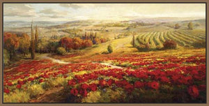 34732_FN2_- titled 'Red Poppy Panorama' by artist Roberto Lombardi - Wall Art Print on Textured Fine Art Canvas or Paper - Digital Giclee reproduction of art painting. Red Sky Art is India's Online Art Gallery for Home Decor - 761_TR3063