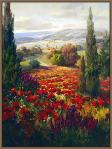 76006_FN2_- titled ' Fields of Bloom' by artist Roberto Lombardi - Wall Art Print on Textured Fine Art Canvas or Paper - Digital Giclee reproduction of art painting. Red Sky Art is India's Online Art Gallery for Home Decor - 761_TR3940