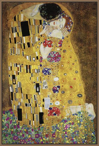 60213_FN2_- titled 'The Kiss' by artist Gustav Klimt - Wall Art Print on Textured Fine Art Canvas or Paper - Digital Giclee reproduction of art painting. Red Sky Art is India's Online Art Gallery for Home Decor - K349