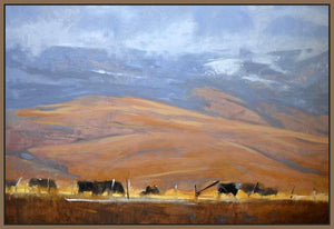 60110_FN2_- titled 'North Powder Cows' by artist Todd Telander - Wall Art Print on Textured Fine Art Canvas or Paper - Digital Giclee reproduction of art painting. Red Sky Art is India's Online Art Gallery for Home Decor - T1642