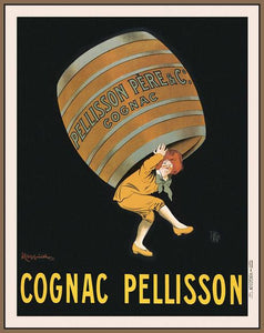 60203_FN2_- titled 'Cognac Pellisson' by artist Vintage Posters - Wall Art Print on Textured Fine Art Canvas or Paper - Digital Giclee reproduction of art painting. Red Sky Art is India's Online Art Gallery for Home Decor - V395