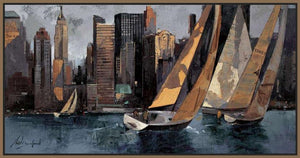 222241_FN3 'Sailboats in Manhattan I' by artist Marti Bofarull - Wall Art Print on Textured Fine Art Canvas or Paper - Digital Giclee reproduction of art painting. Red Sky Art is India's Online Art Gallery for Home Decor - 111_BMP306