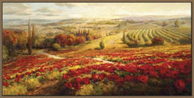 34732_FN3_- titled 'Red Poppy Panorama' by artist Roberto Lombardi - Wall Art Print on Textured Fine Art Canvas or Paper - Digital Giclee reproduction of art painting. Red Sky Art is India's Online Art Gallery for Home Decor - 761_TR3063