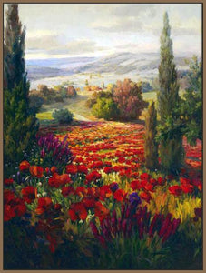 76006_FN3_- titled ' Fields of Bloom' by artist Roberto Lombardi - Wall Art Print on Textured Fine Art Canvas or Paper - Digital Giclee reproduction of art painting. Red Sky Art is India's Online Art Gallery for Home Decor - 761_TR3940