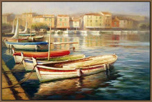 34592_FN3_- titled 'Harbor Morning II' by artist Roberto Lombardi - Wall Art Print on Textured Fine Art Canvas or Paper - Digital Giclee reproduction of art painting. Red Sky Art is India's Online Art Gallery for Home Decor - 761_TR5346