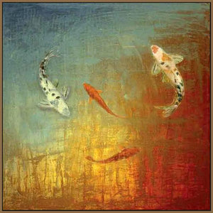 35013_FN3_- titled 'Koi Zen' by artist MJ Lew - Wall Art Print on Textured Fine Art Canvas or Paper - Digital Giclee reproduction of art painting. Red Sky Art is India's Online Art Gallery for Home Decor - 762_TR12362