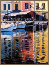 35125_FN3_- titled 'Reflections Of Portofino' by artist Tom Swimm - Wall Art Print on Textured Fine Art Canvas or Paper - Digital Giclee reproduction of art painting. Red Sky Art is India's Online Art Gallery for Home Decor - 762_TR18586