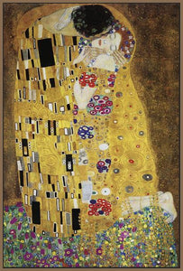 60213_FN3_- titled 'The Kiss' by artist Gustav Klimt - Wall Art Print on Textured Fine Art Canvas or Paper - Digital Giclee reproduction of art painting. Red Sky Art is India's Online Art Gallery for Home Decor - K349
