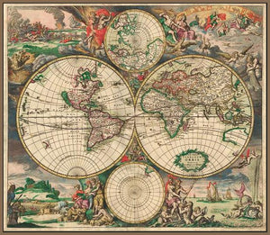 60242_FN3_- titled 'World Map 1689' by artist Vintage Reproduction - Wall Art Print on Textured Fine Art Canvas or Paper - Digital Giclee reproduction of art painting. Red Sky Art is India's Online Art Gallery for Home Decor - V413